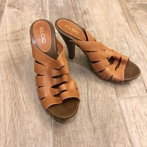 Aldo leather slide on sandals